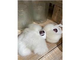 Für Ihren Wellnessgarten - Lunte weiss zum Dekorieren, 100 % Schafwolle